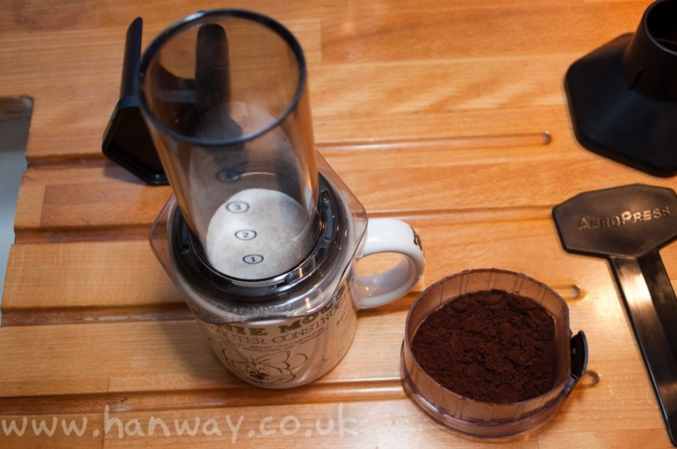 Filter loaded into the Aeropress, coffee ready to go in.