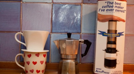 Left to Right: Drip filter, Moka pot, Aeropress