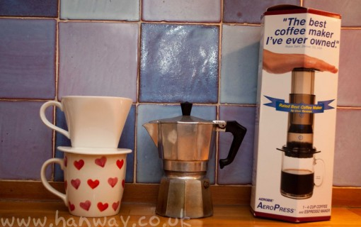 Left to Right: Drip filter, Moka pot, Aeropress